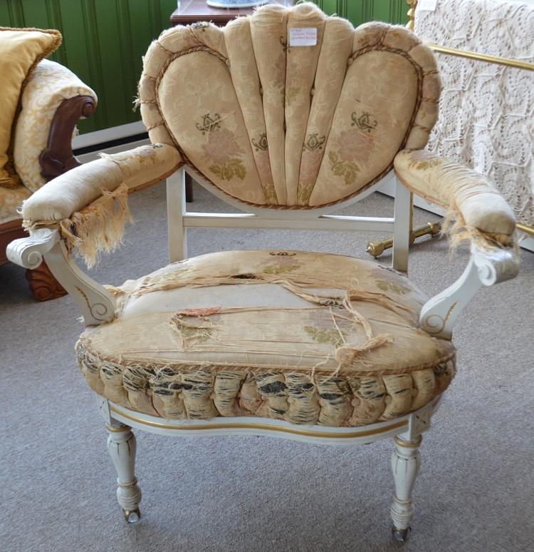 Victorian Shabby Cream Upholstered Arm Chair