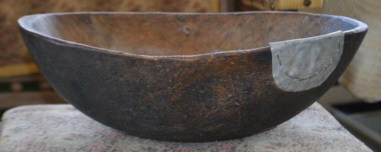 Hand Made Wooden Bowl w/ Metal Patch