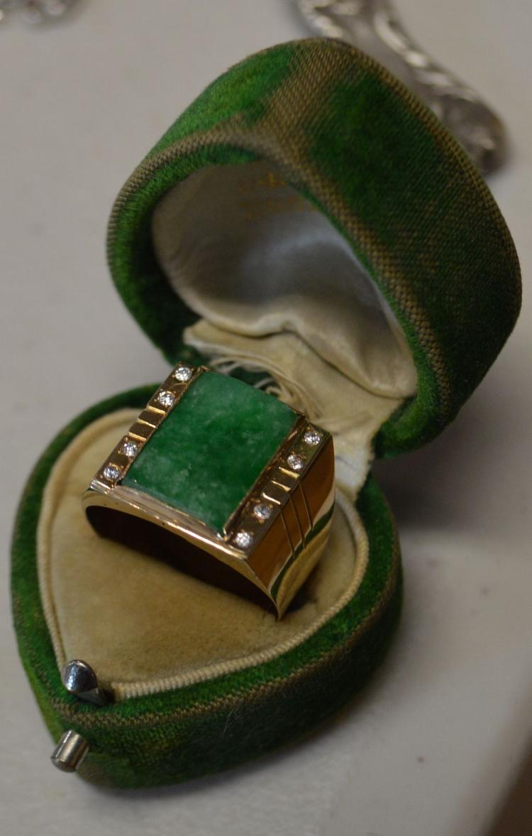 Men's Jadeite & Gold Ring