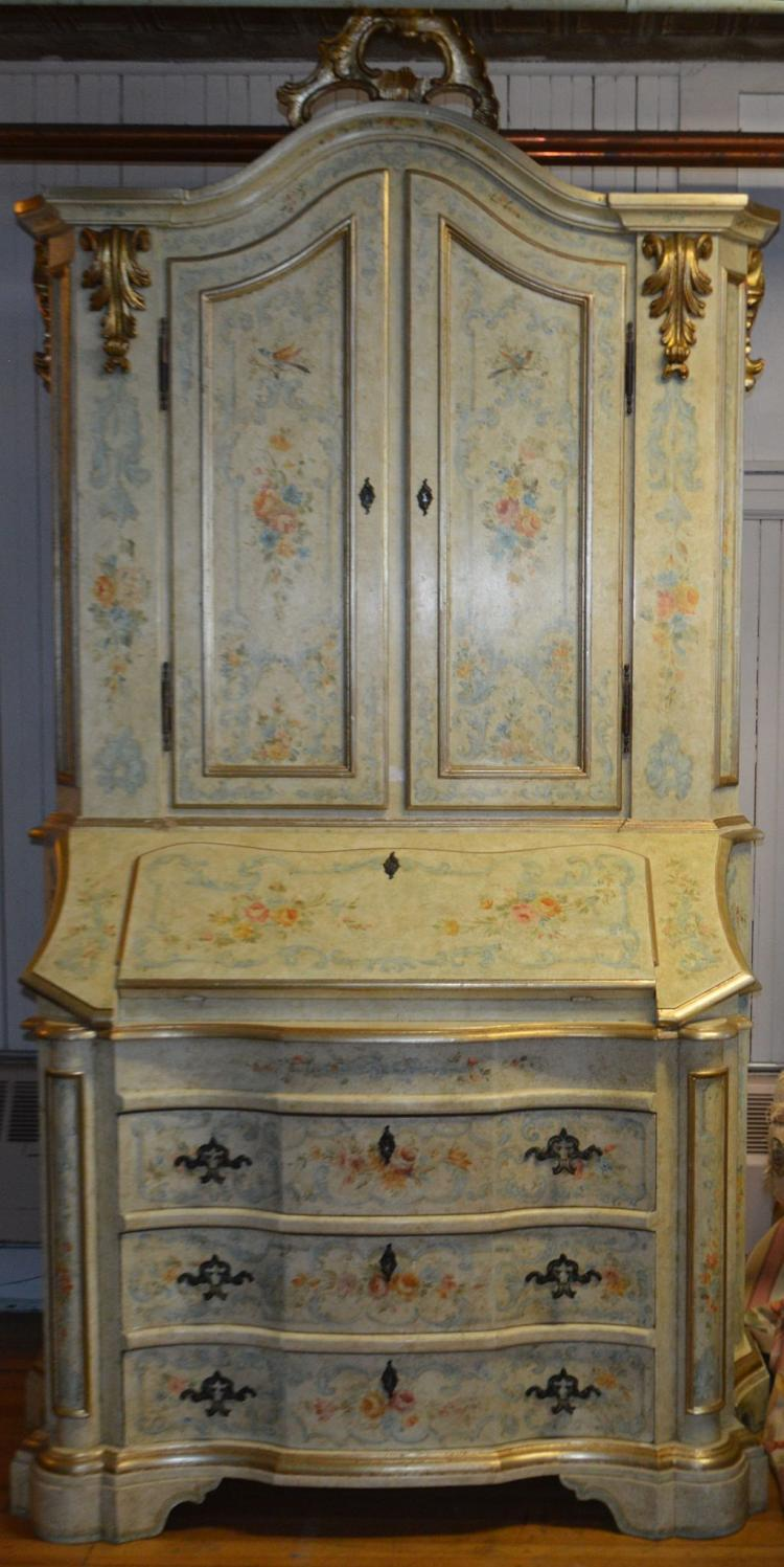 French Style Secretary Cream w/ Blue Floral