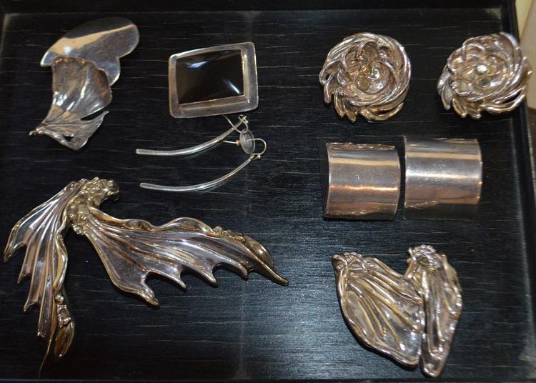 12 Pc. Sterling Silver Earrings/Brooch