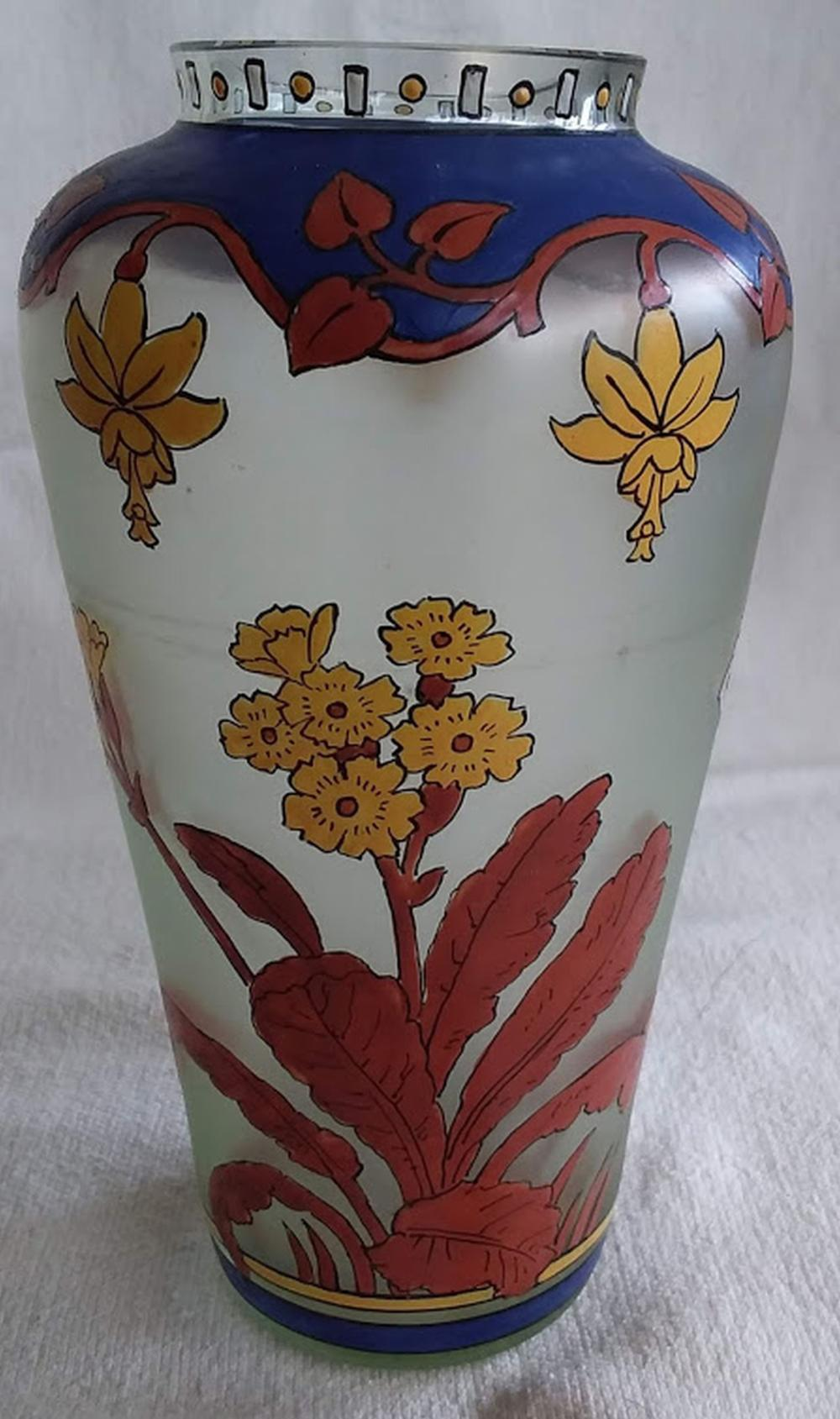 """Moser Art Glass"" Hand Painted Vase"