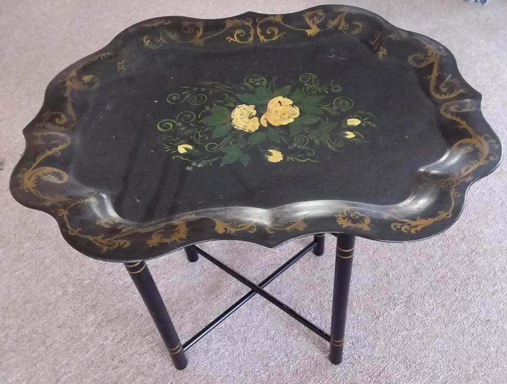 Hand Painted Tray w/ Yellow Roses & Stand