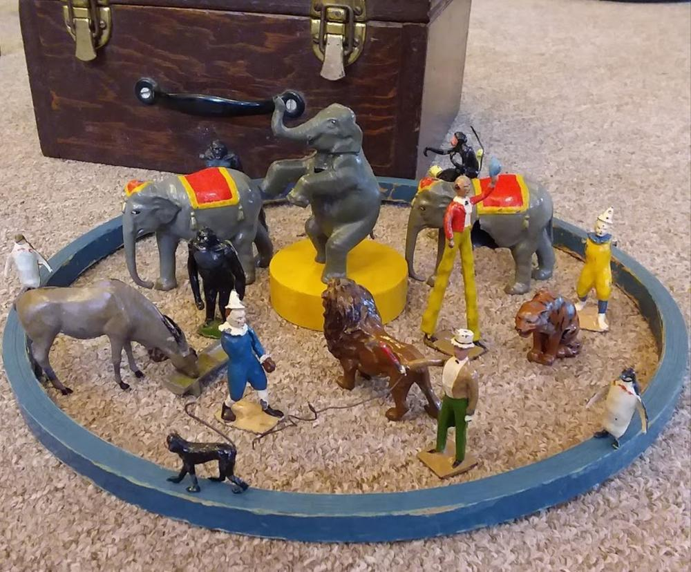 Vintage Tin Circus Animal & Workers in the Ring