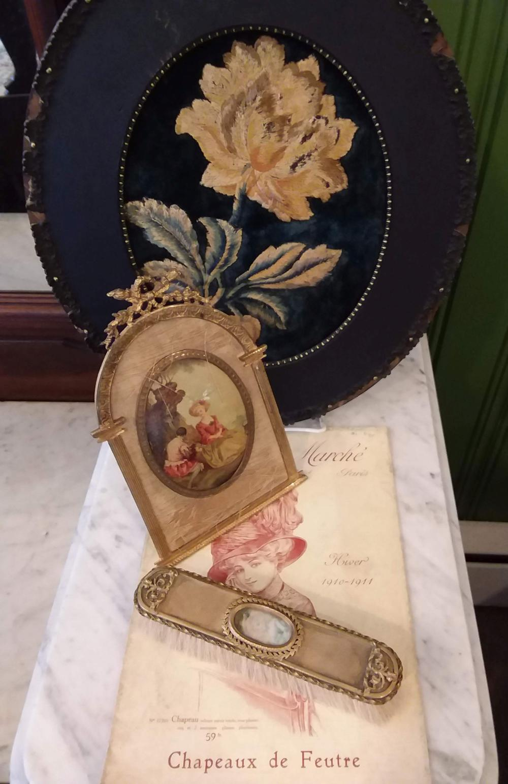 4 Pc. Floral Embroidery w/ French Brush w/Ivory Miniature/Frame