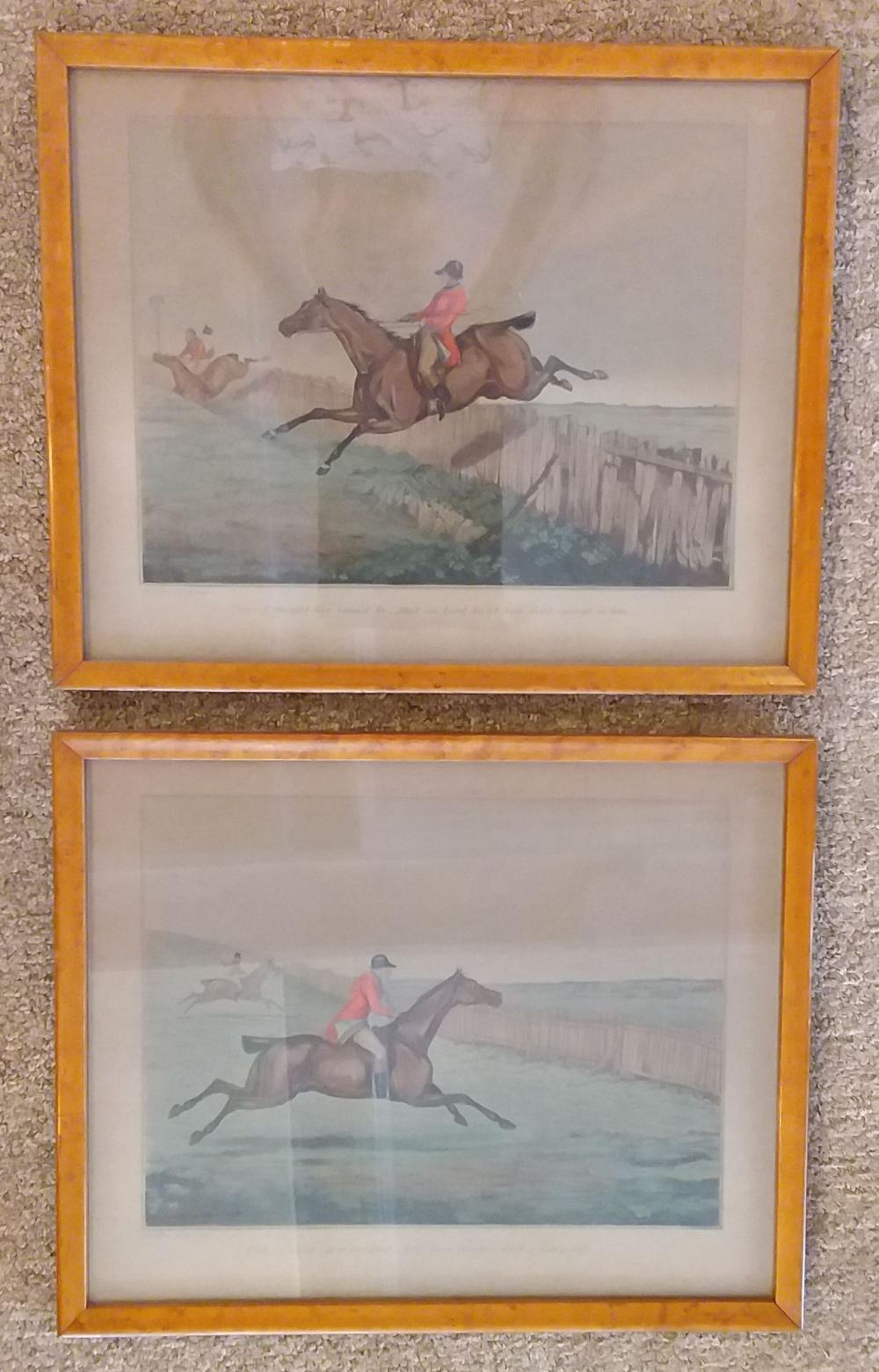 "Set of 2 19th C ""Henry Alken"" Hand Colored Horse at the Hunt Engravings"
