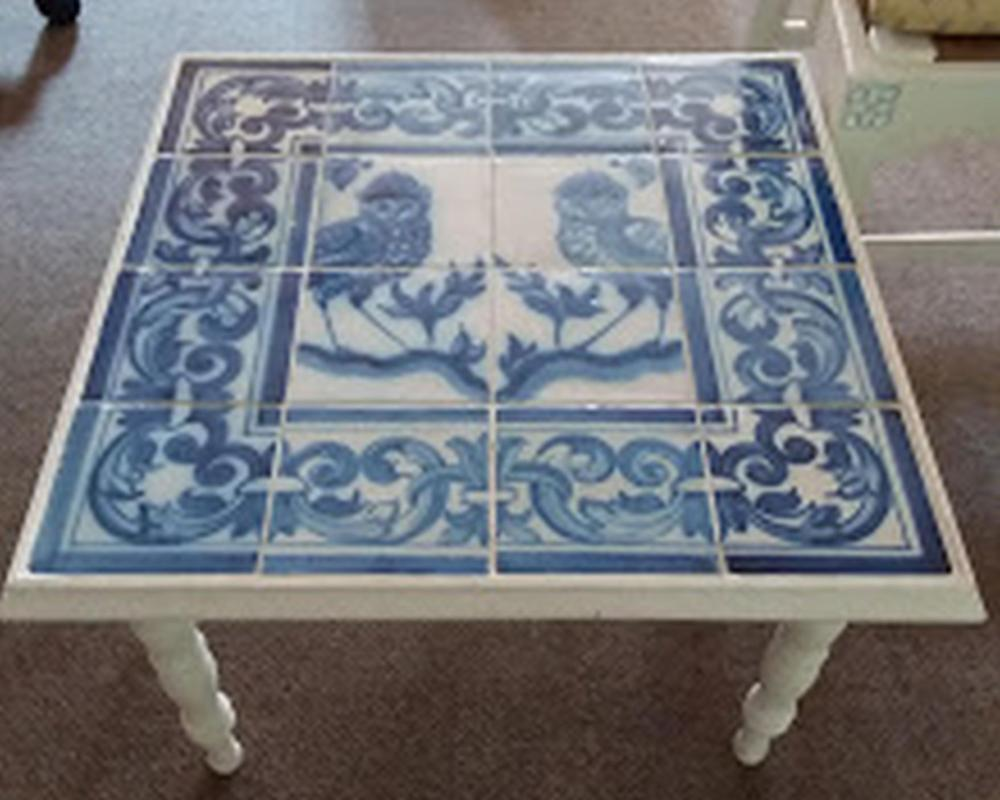 Blue & White Owl Tile Low Table