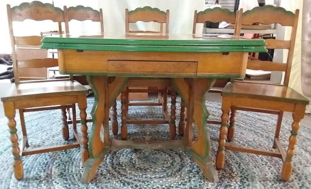 Vintage Painted Tin Top Table w/ 6 Green Trim Chairs