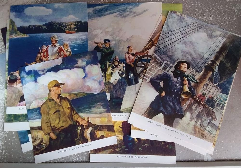 "Rare Set 15 ""N.C. Wyeth"" Illustrations from ""Trending into Maine""."