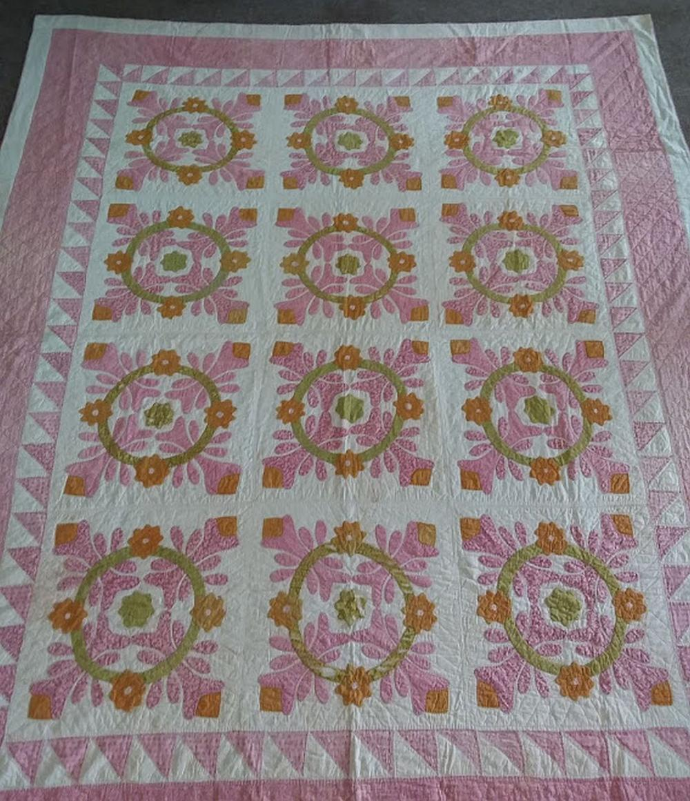 Early Hand Worked Quilt - Peach & Pink