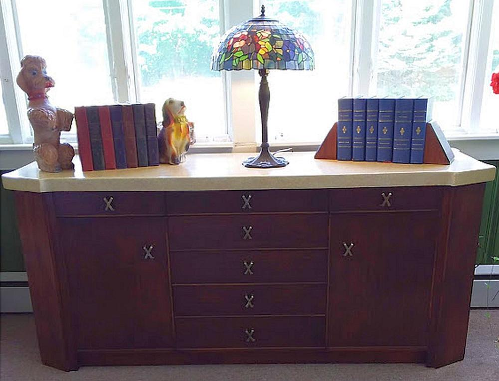 "Mid Century Designer ""Paul Frankl"" Sideboard with Cork Top"