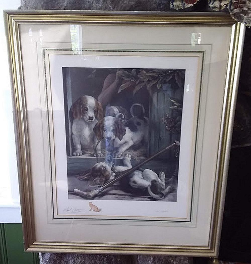 Framed Signed Engraving Of Puppies at Play