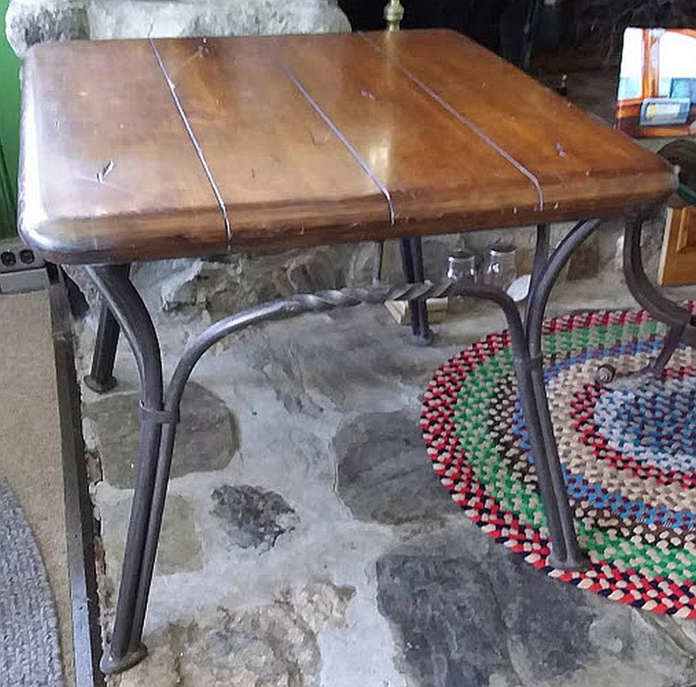 Iron Base Wood Top Side Table