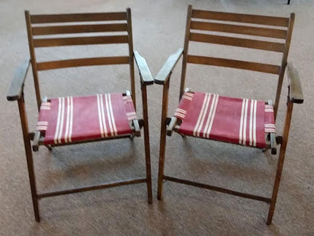 Pr. Folding Garden Chairs w/ Red Covering