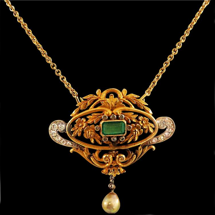 Antique emerald pearl diamond gold pendant necklace aloadofball Choice Image