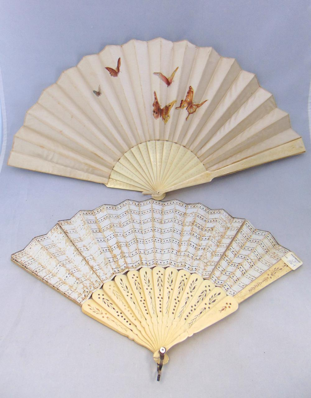Two vintage decorative fans