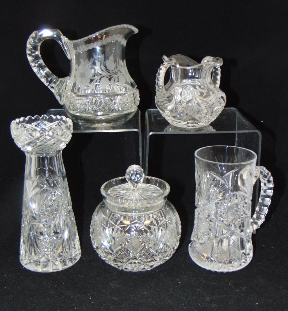 Group of cut glass items