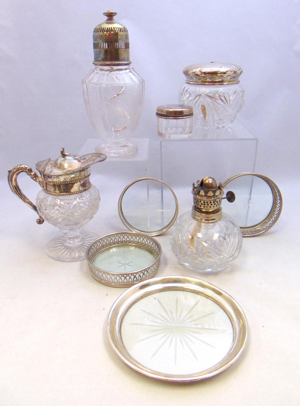 Group of sterling and glass items
