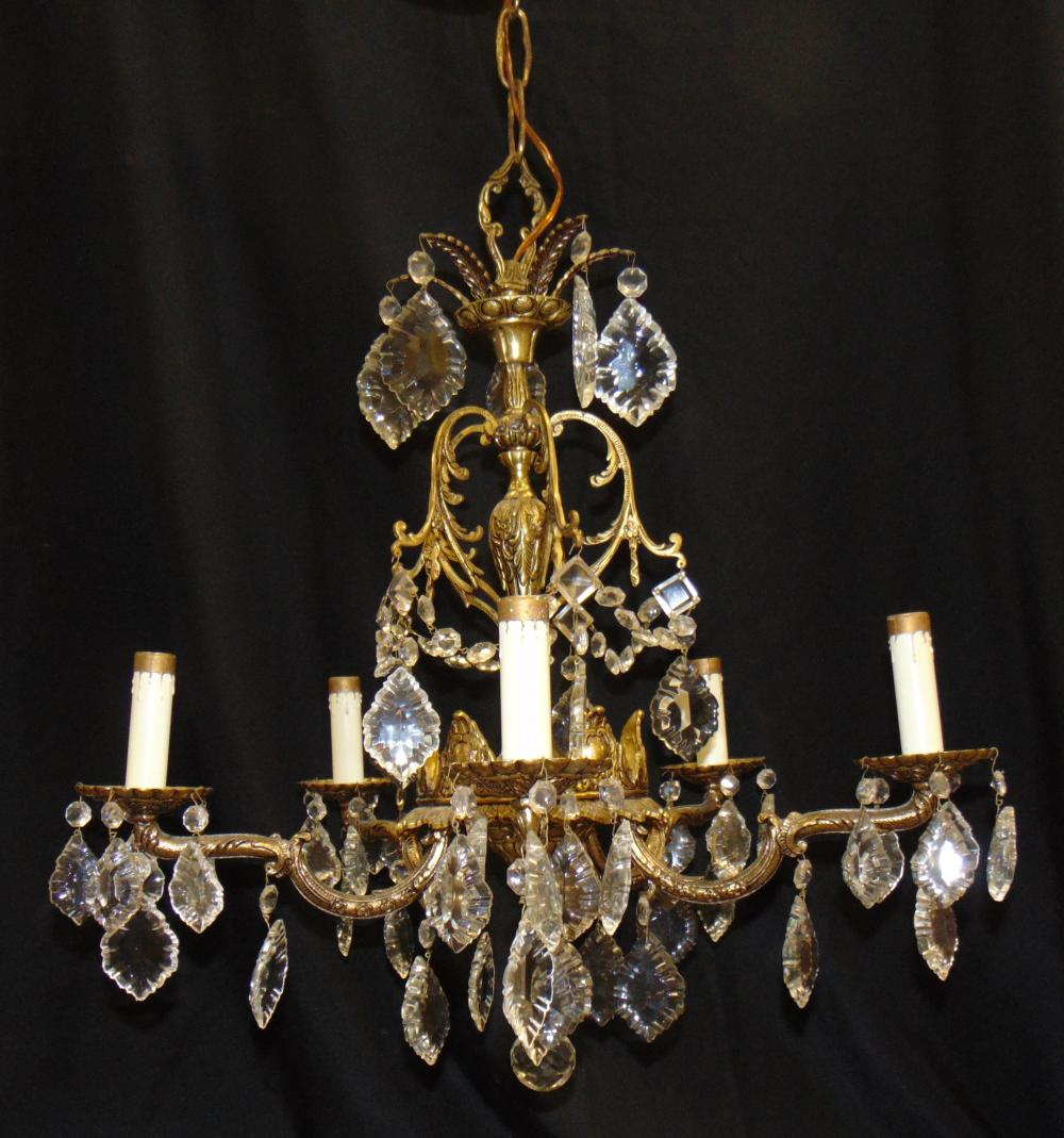 Metal and cut glass Chandelier