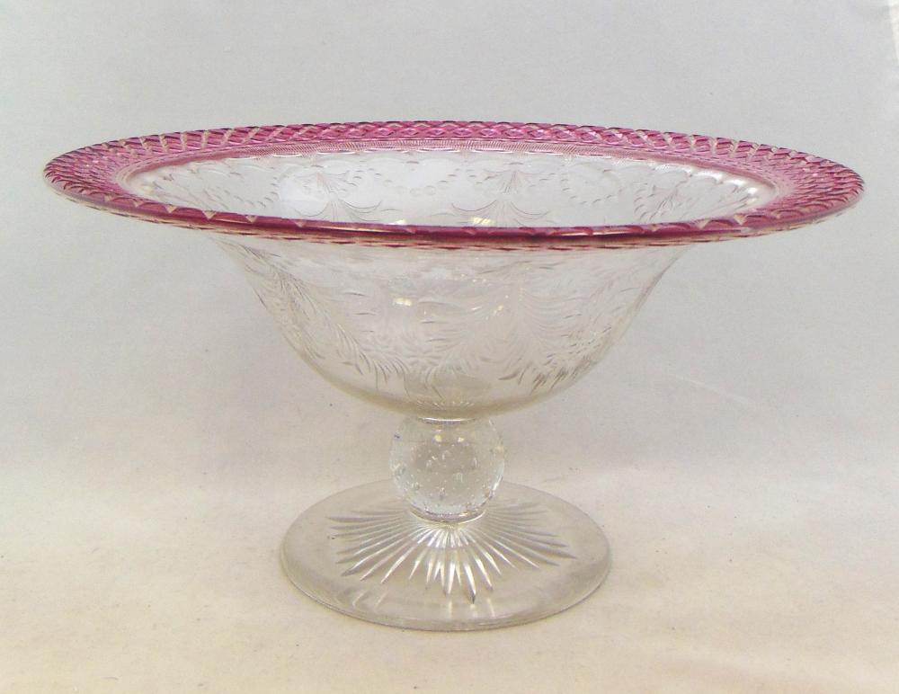 Pairpoint ruby cut to clear compote