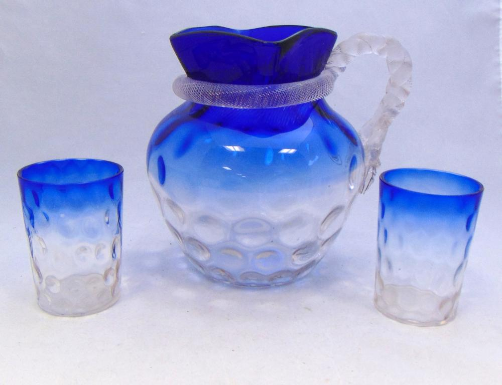 Bluerina water pitcher and tumblers
