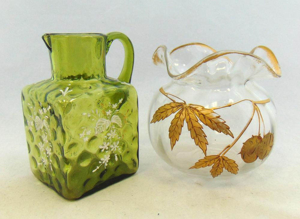 Two enameled glass items