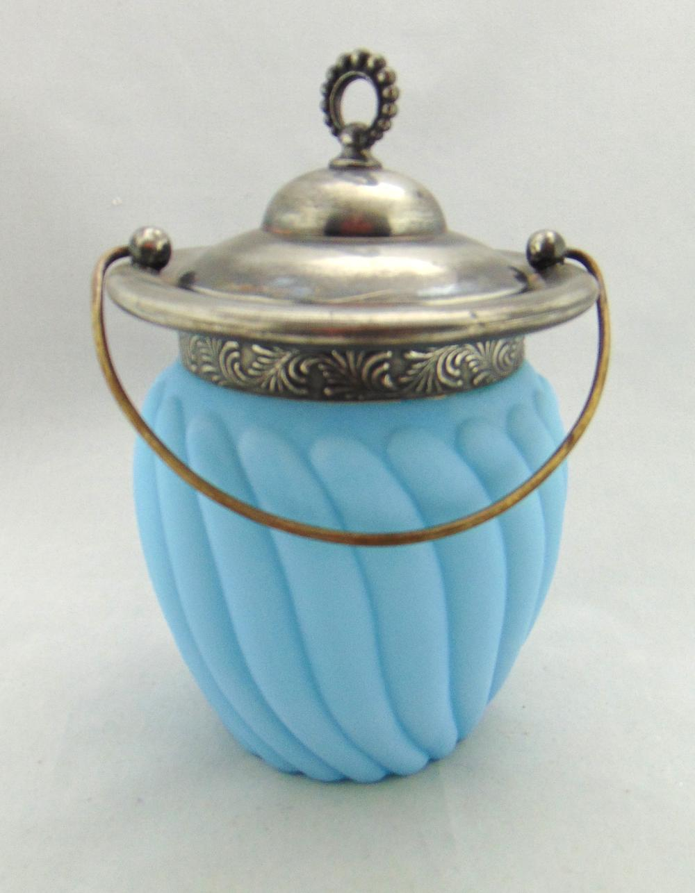 Blue satin glass cracker jar