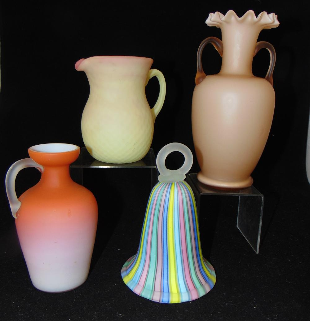 Four piece grouping of satin glass