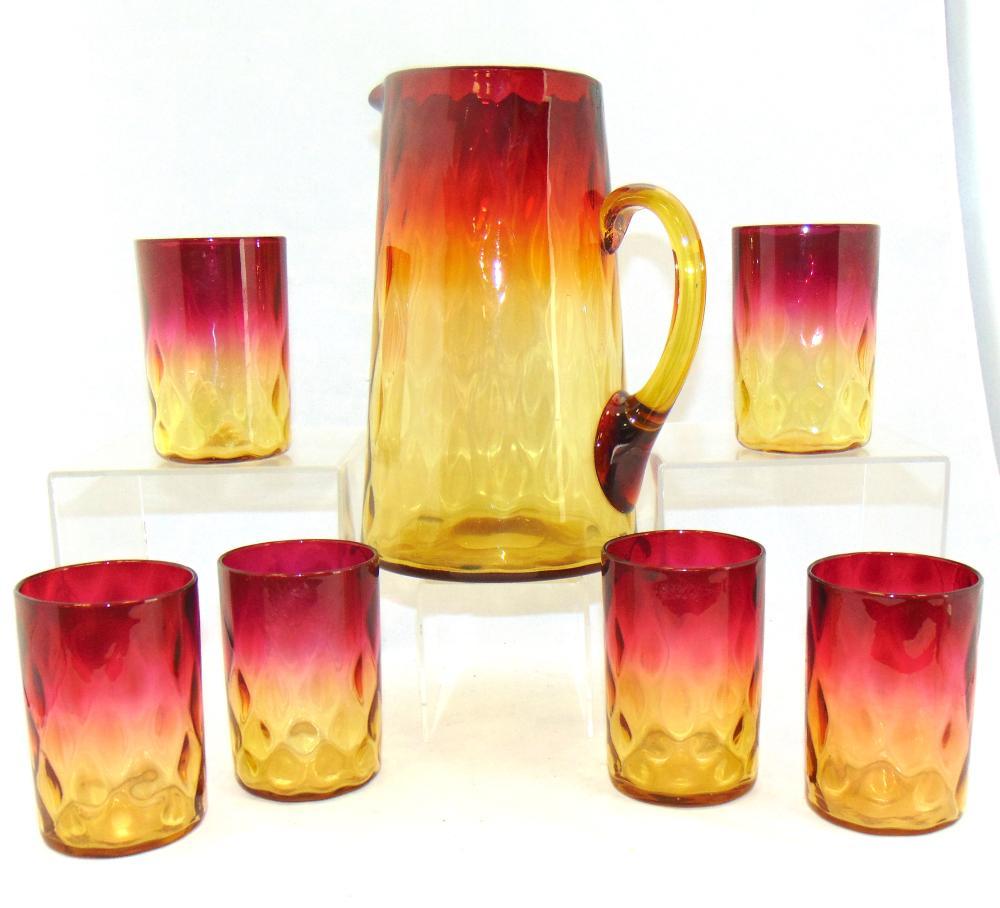 Amberina tankard pitcher and glasses
