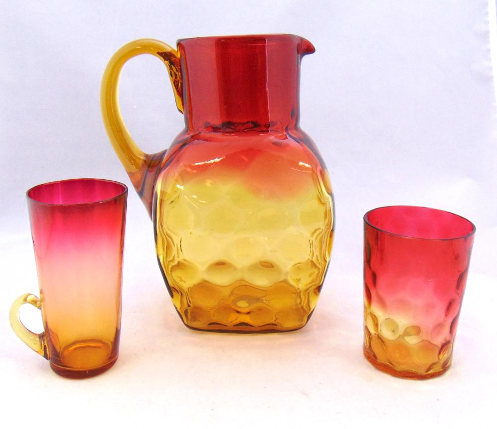 Amberina water pitcher and glasses