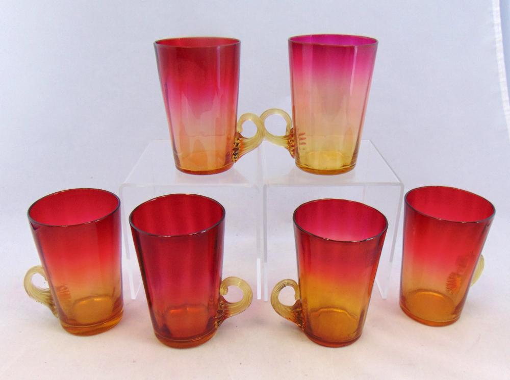 Six tall Amberina punch cups