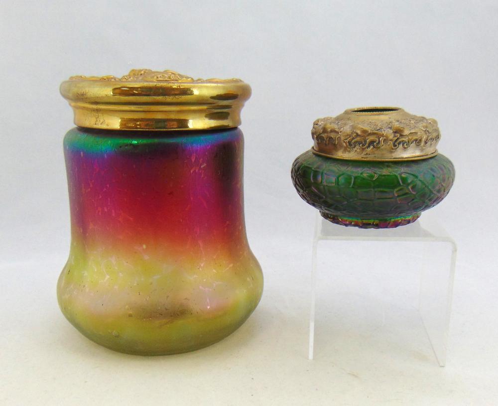 Two Bohemian dresser jars