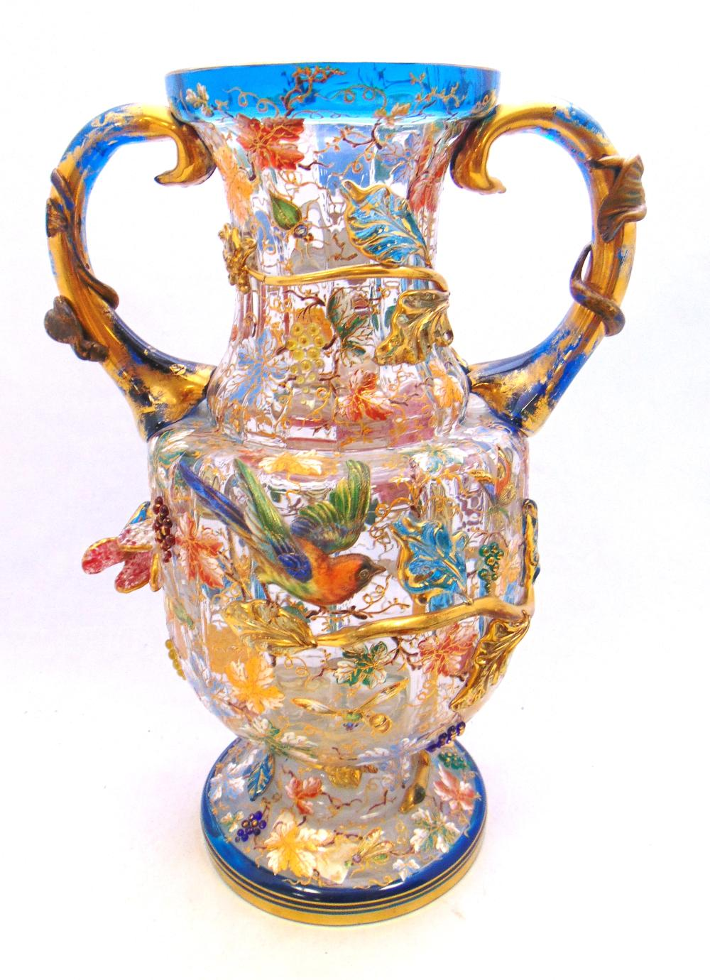 Moser two handle glass vase