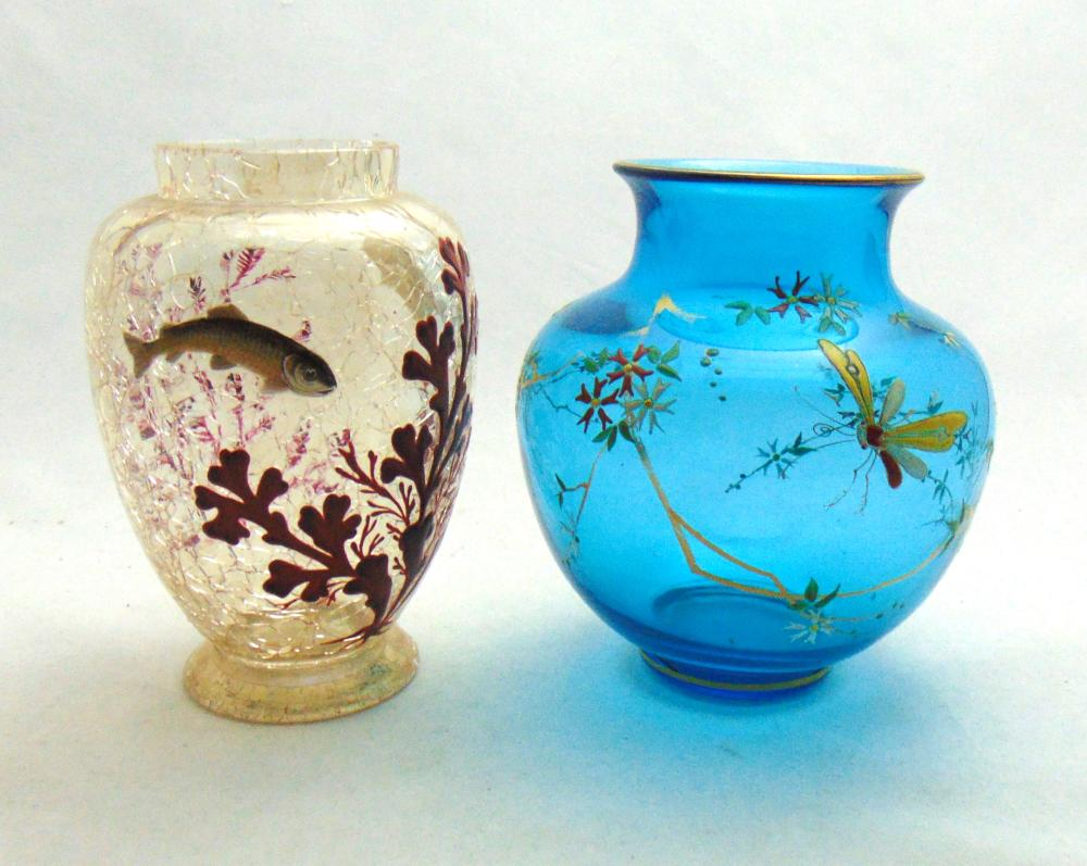 Two Moser glass vases