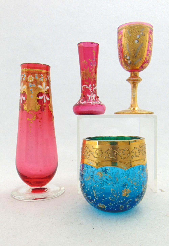 Four diminutive Moser glass items