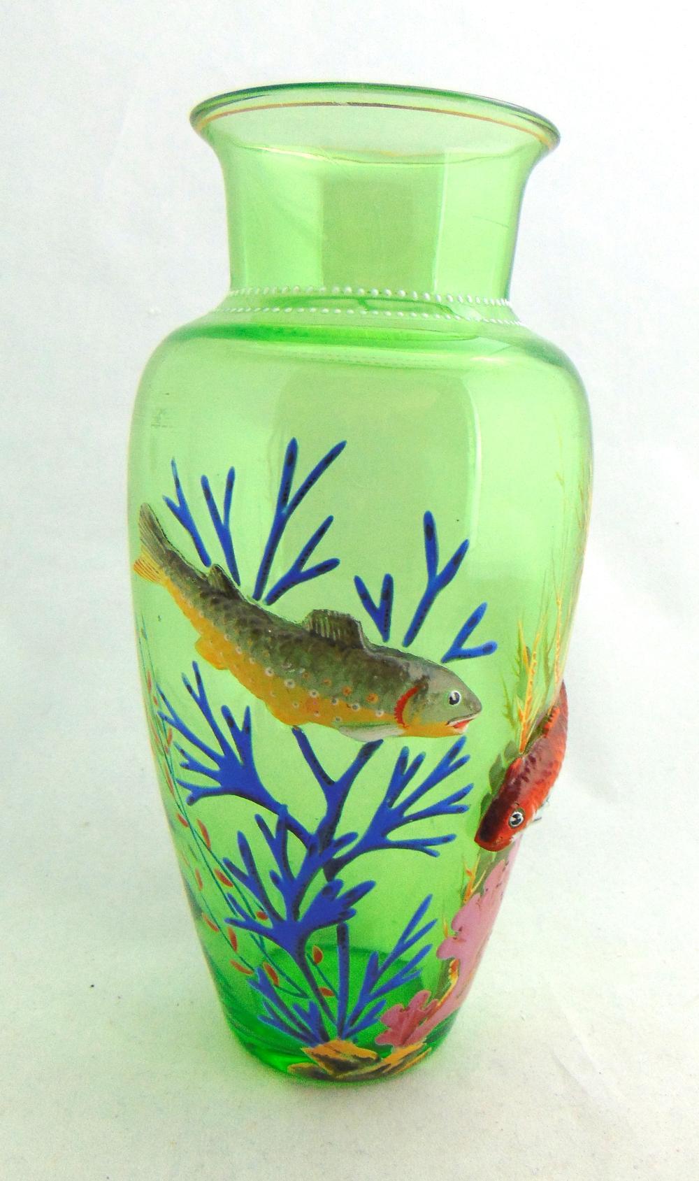Moser green art glass fish vase