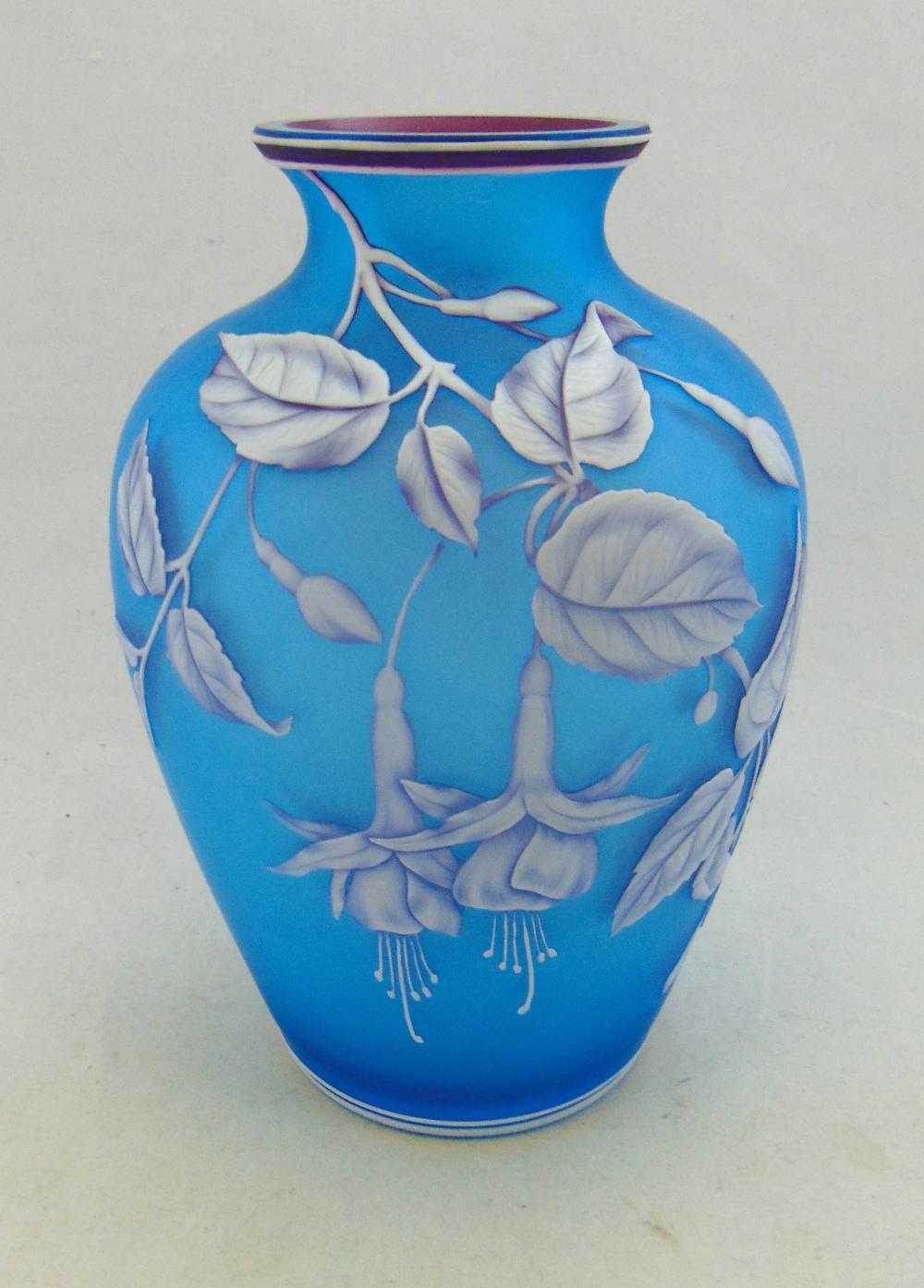 Webb Prussian Blue cameo vase