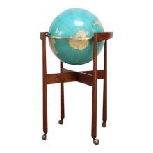 Jens Risom Sculptural Walnut Globe on Casters