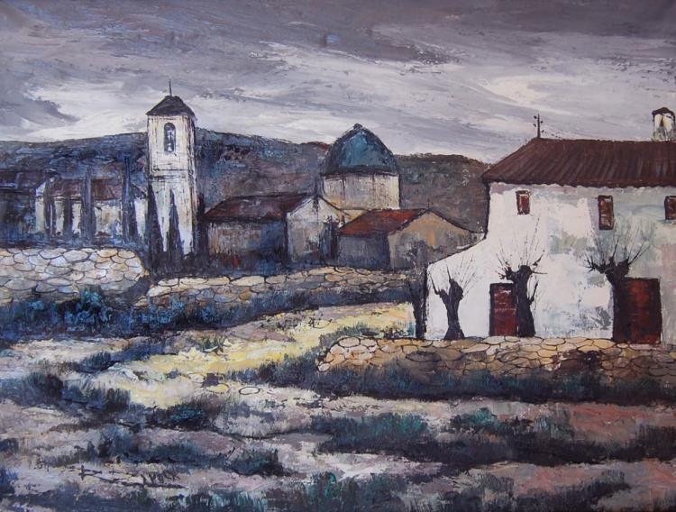 Daroca Rafael (Spanish 1927-) Aldea oil on canvas