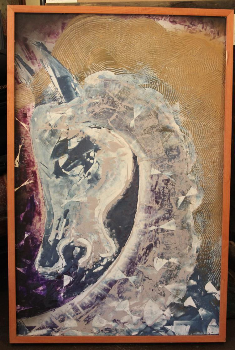Hovik Kochinian (Born 1953) Horse multi-medium on artboard