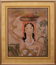 Lady carrying Fruit Basket