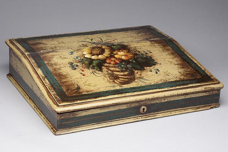 PETER OMPIR (1904-1979) FOLK ART PAINTED SLANT-TOP WRITING BOX