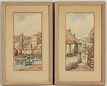 PAIR OF THOMAS HERBERT VICTOR, AKA WALTER SANDS (BRITISH, 1894-1980), HARBOR SCENE PAINTINGS