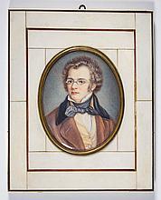 CARL JAGER (GERMAN, 1833-1887) MINIATURE PORTRAIT OF FRANZ SCHUBERT
