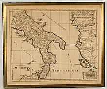 AFTER ALEXIS HUBERT JAILLOT (FRENCH, 1632-1712) MAP OF SOUTHERN ITALY AND THE MEDITERRANEAN