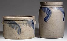 RICHMOND, VIRGINIA (ATTRIBUTED) DECORATED STONEWARE VESSELS, LOT OF TWO
