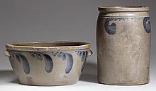 STRASBURG, SHENANDOAH VALLEY OF VIRGINIA DECORATED STONEWARE VESSELS, LOT OF TWO