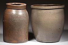STAMPED STRASBURG, SHENANDOAH VALLEY OF VIRGINIA STONEWARE VESSELS, LOT OF TWO