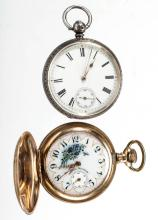 WALTHAM SEVEN-JEWEL POCKET WATCHES, LOT OF TWO