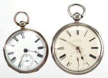 ENGLISH STERLING SILVER CASE KEY-WIND POCKET WATCHES, LOT OF TWO